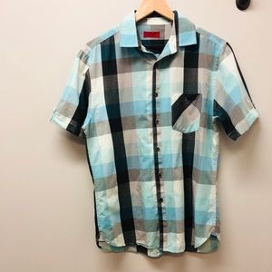 Alfani Men's blue slim fit buttoned down shirt S